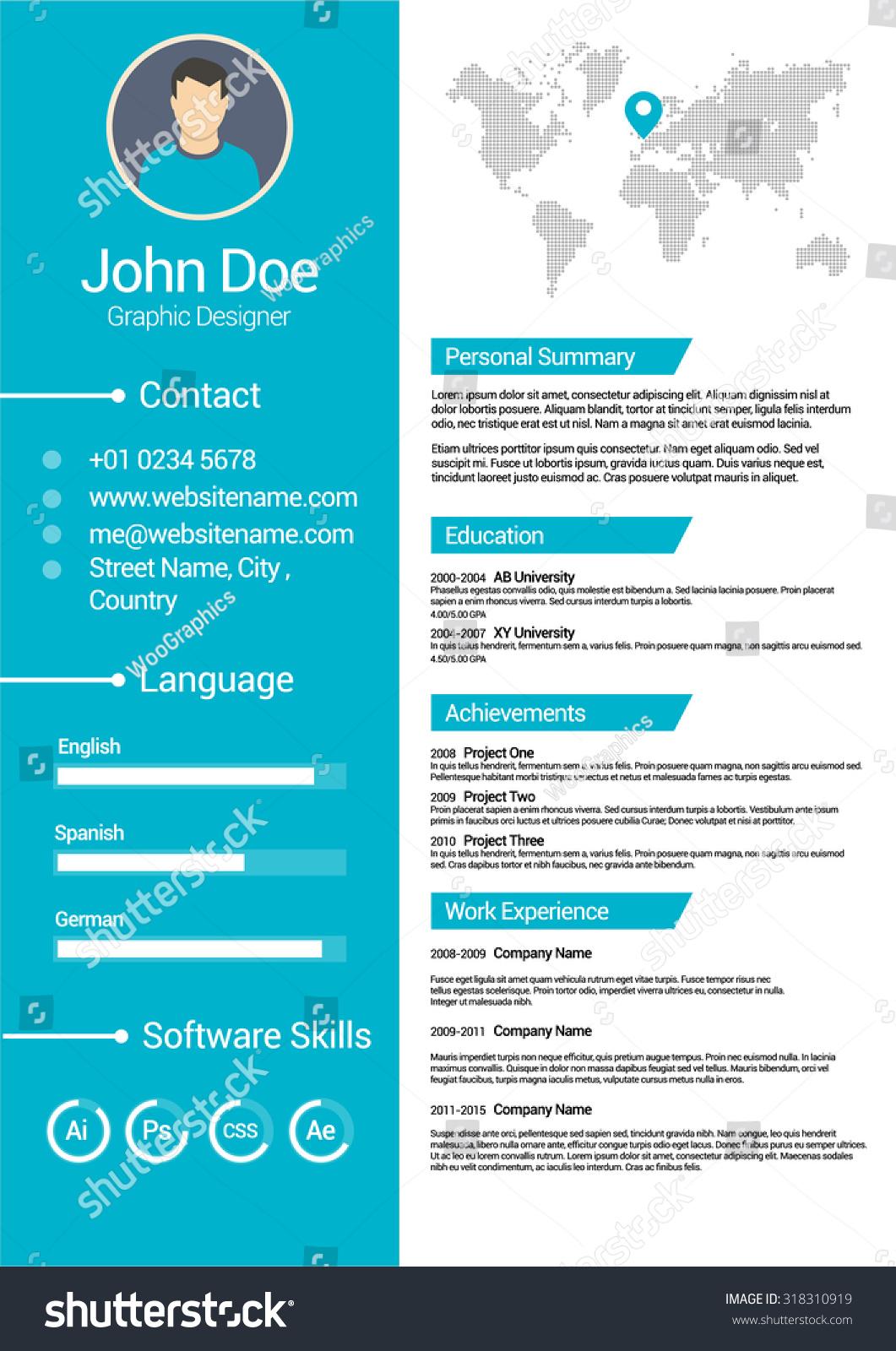 minimalist cv curriculum vitae resume vector stock vector 318310919