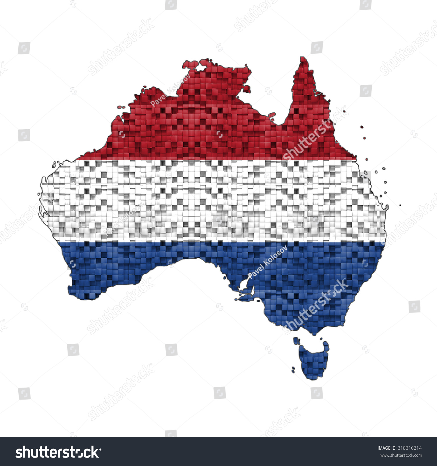 Map Of Australia In Netherlands Flag Colors. Dutch In ...