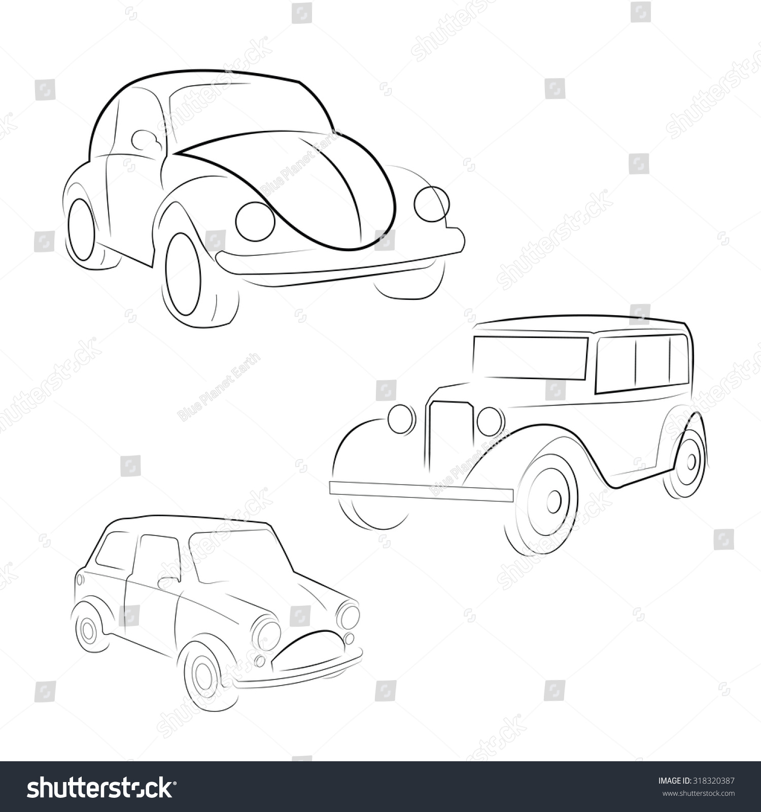 Classic Car Old Fashioned Vector Stock Vector 318320387 - Shutterstock