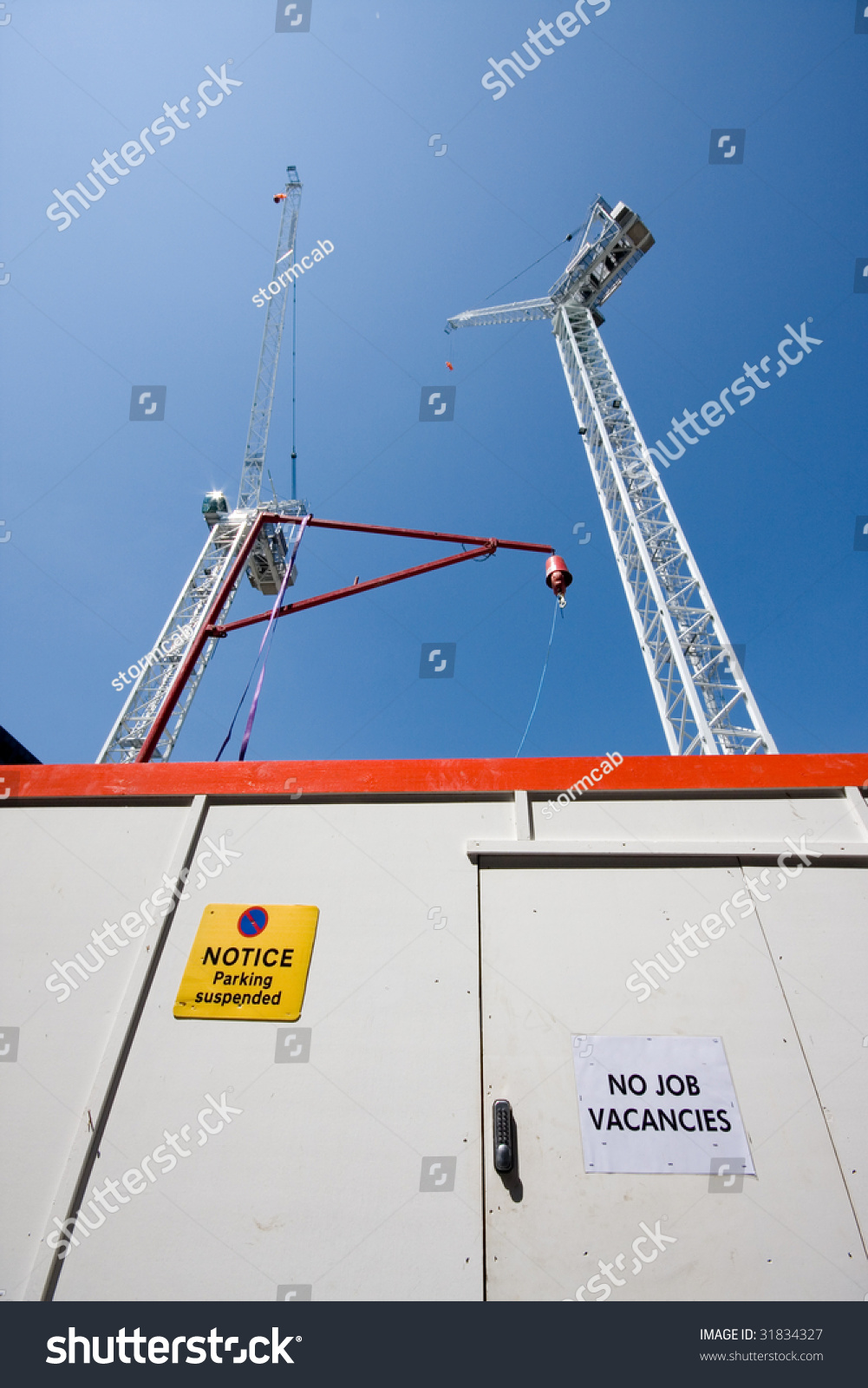 No Job Vacancies Sign By Building Stock Photo (Edit Now