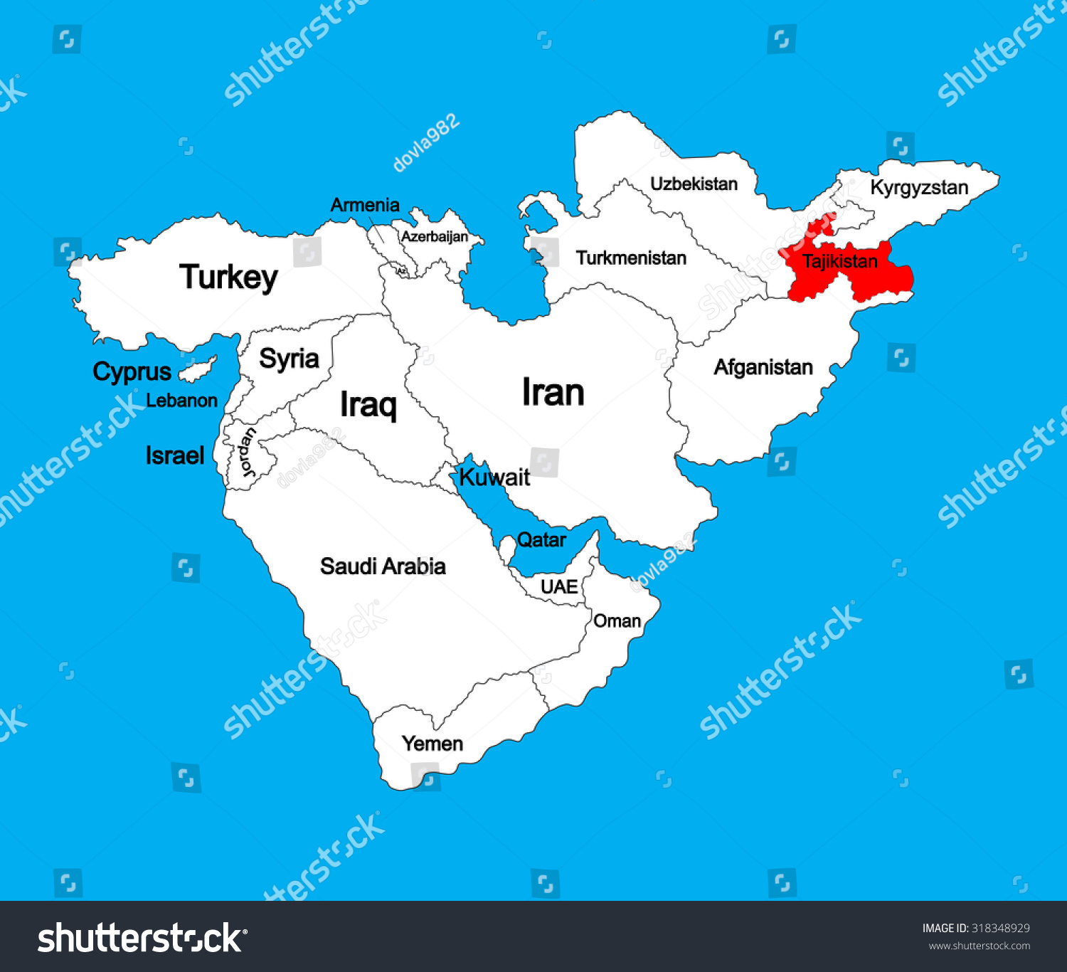 Tajikistan Vector Map Silhouette Illustration Isolated Stock - Middle east map dushanbe