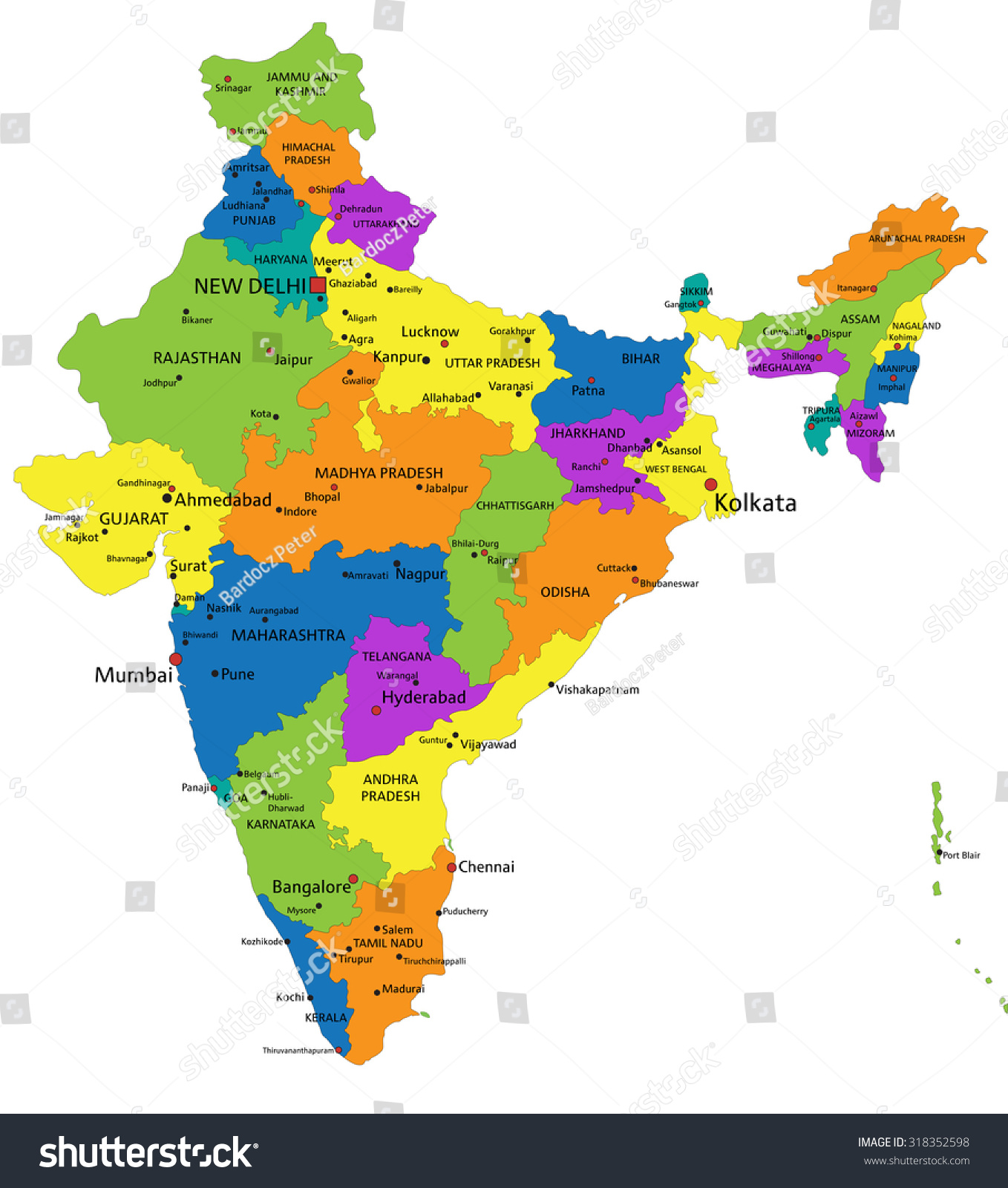 colorful india political map clearly labeled stock vector