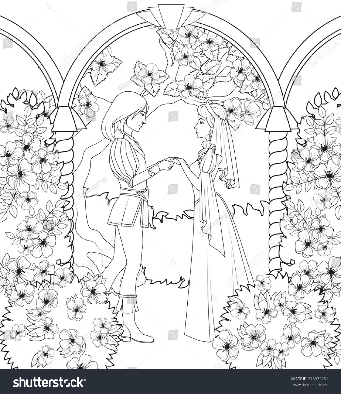 Coloring Book Medieval Couple Holding Hands Stock Illustration ...