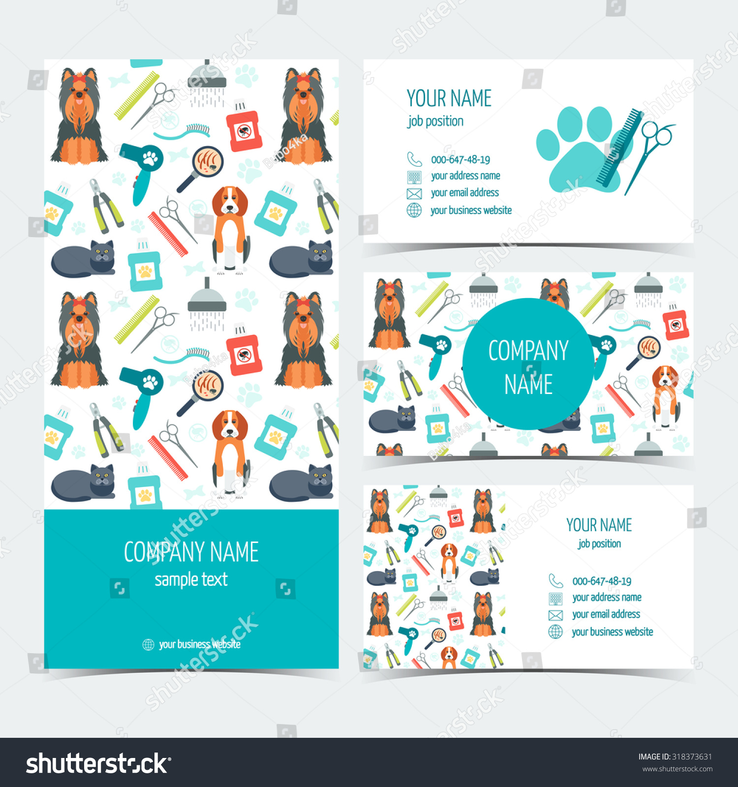 set flyer brochure business cards animal stock vector