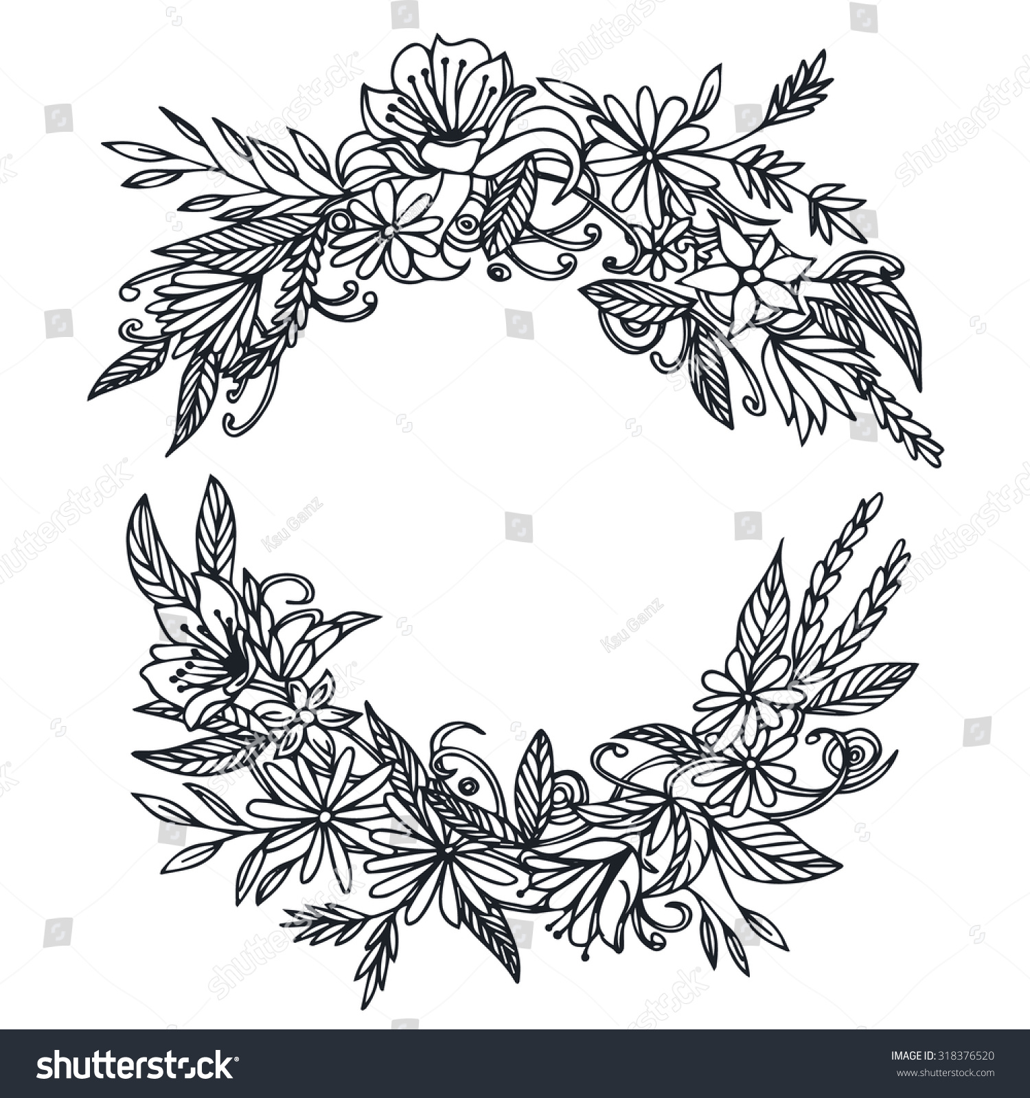 Vector Vintage Round Frame Flowers Floral Stock Vector Royalty Free