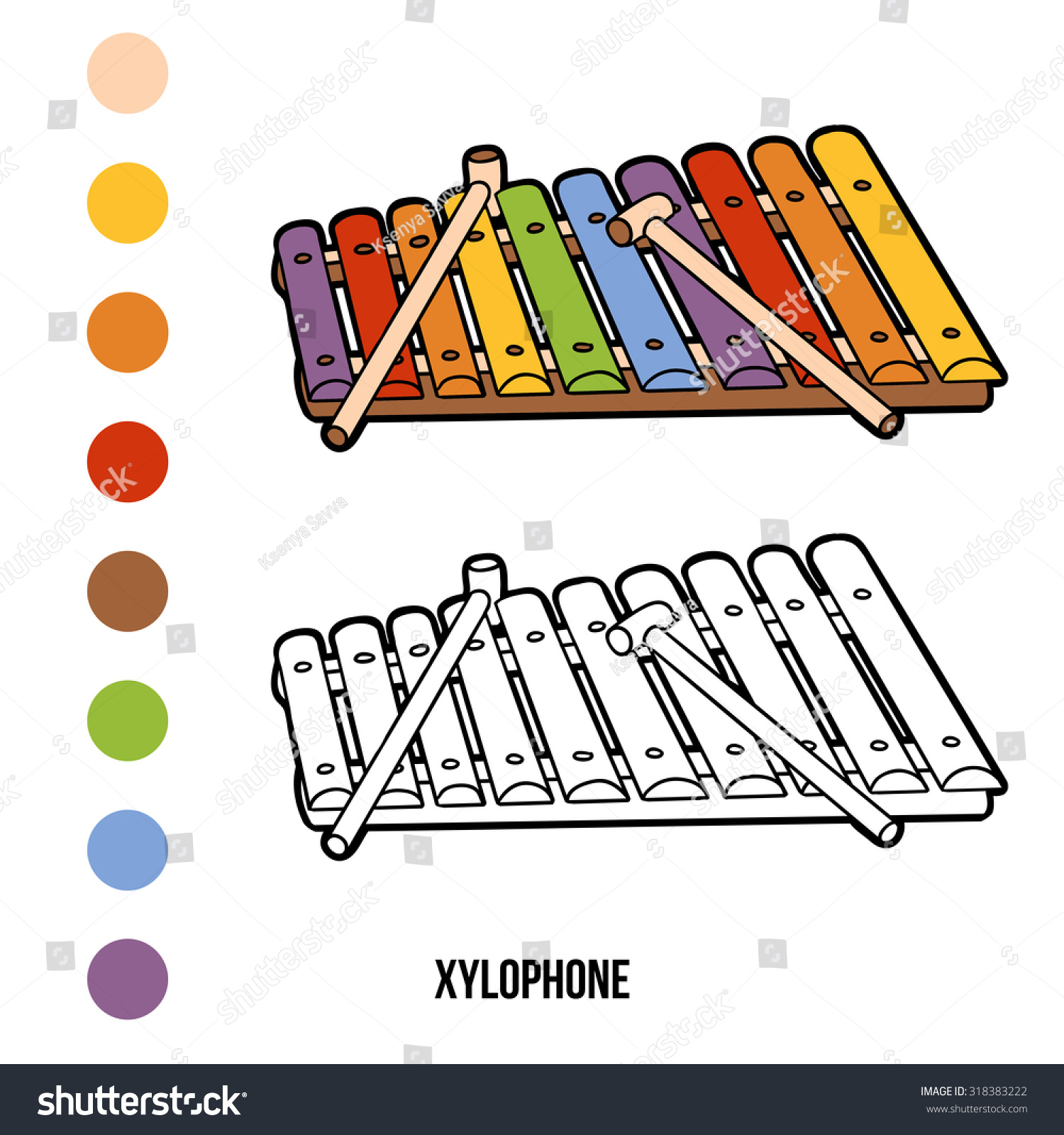 Coloring Book For Children Musical Instruments Xylophone