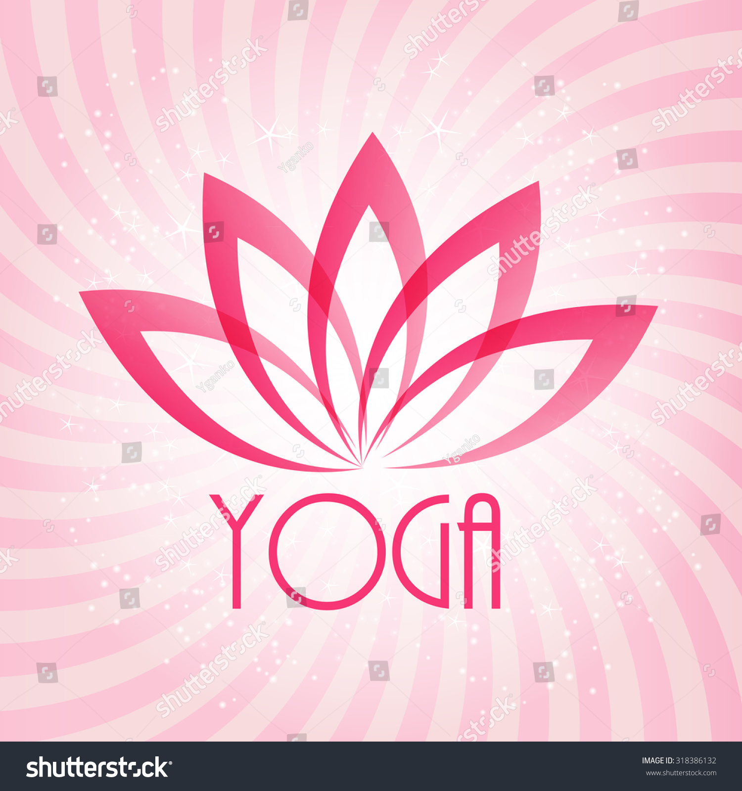 Yoga pattern background seamless pattern with five petals lotus flower - Lotus Flower Sign For Wellness Spa And Yoga Vector Illustration