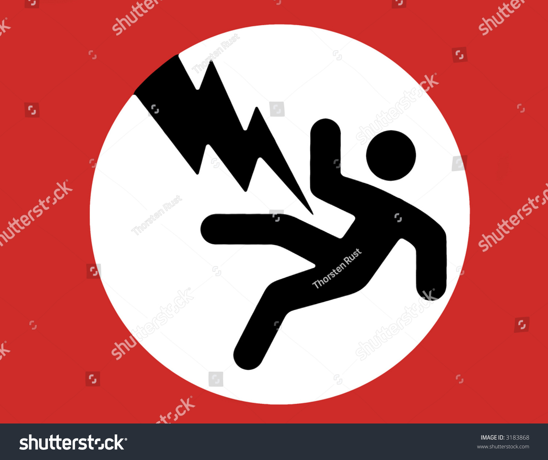 Electric shock warning sign black man stock illustration 3183868 electric shock warning sign black man red boarder white background buycottarizona Images