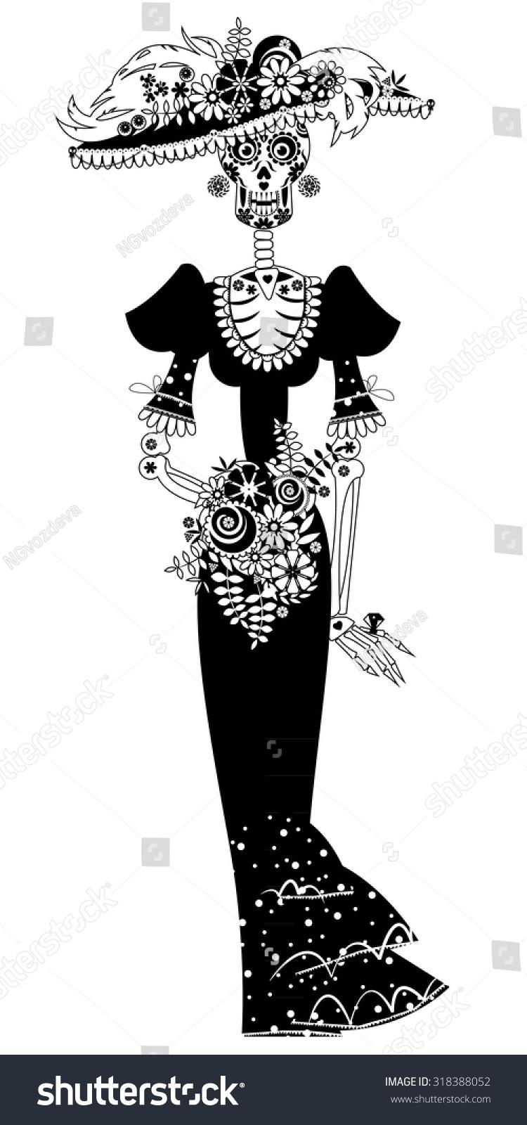 La Calavera Catrina Elegant Skull Dia Stock Vector Royalty Free