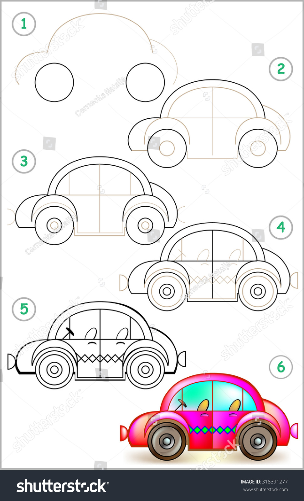 page shows how to learn step by step to draw car developing children skills for