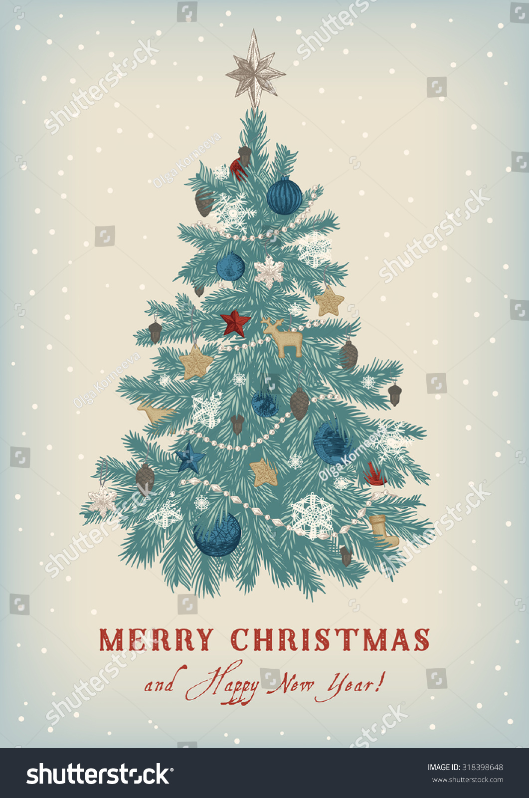 Christmas Tree Vector Vintage Illustration Merry Stock Vector Royalty Free 318398648