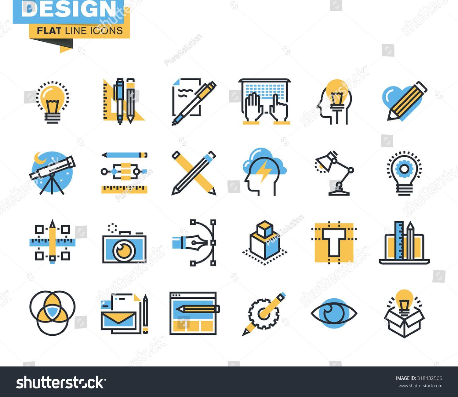 Trendy flat line icon pack icons stock vector 318432566 for Industrial design company