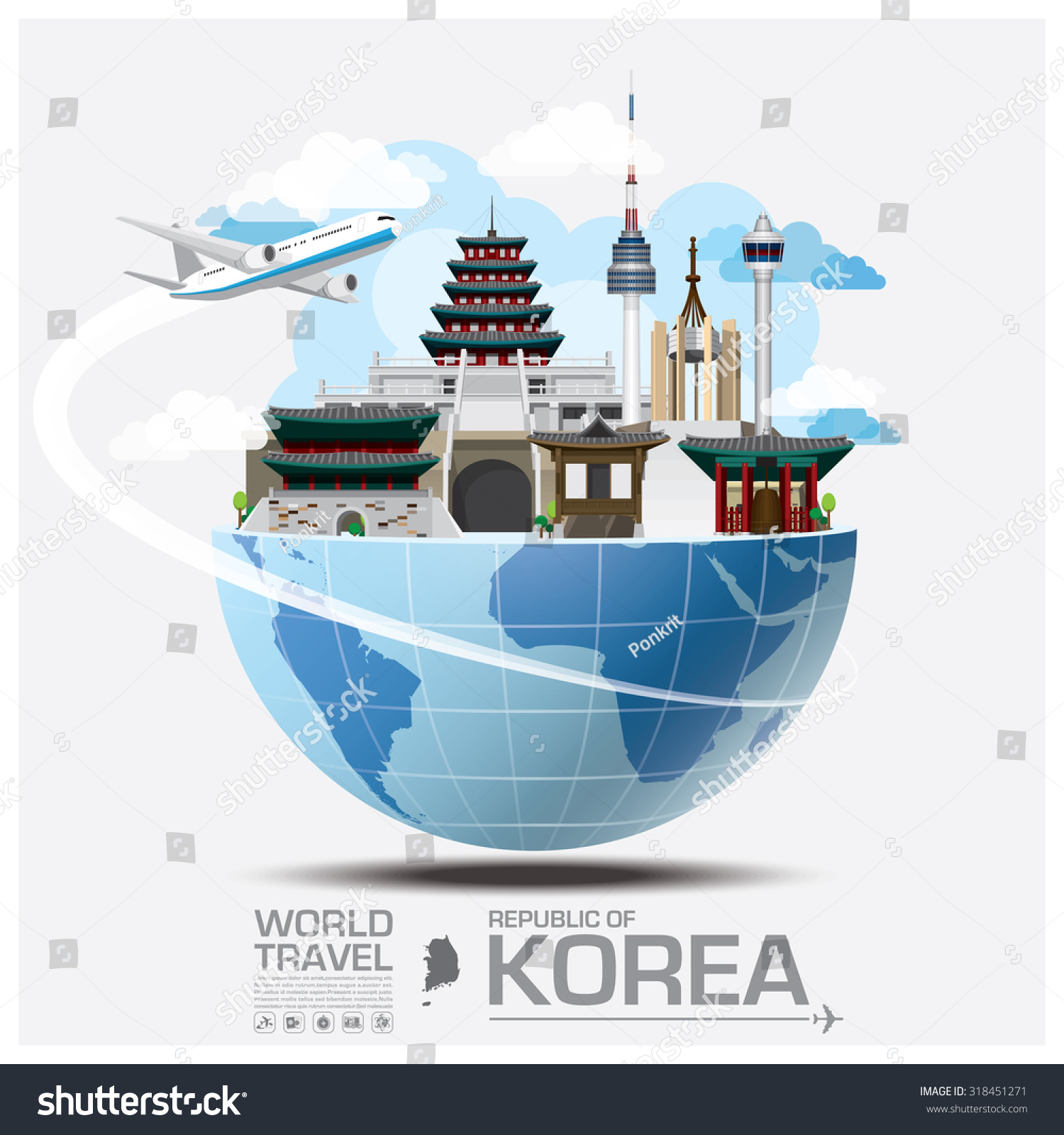 Republic korea landmark global travel journey stock vector for Landmark design