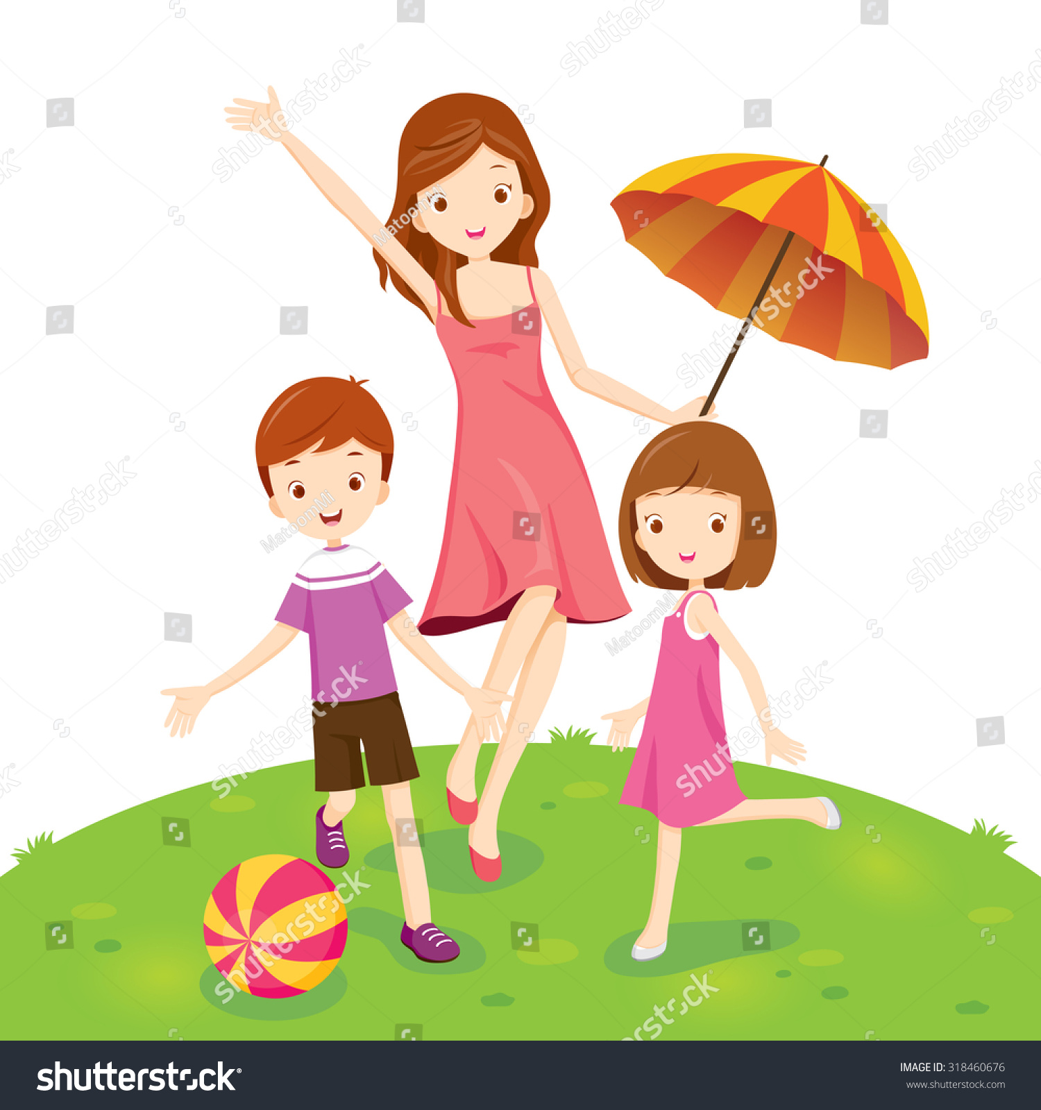 Mother son daughter enjoying park vacations stock vector for Mother daughter vacation destinations