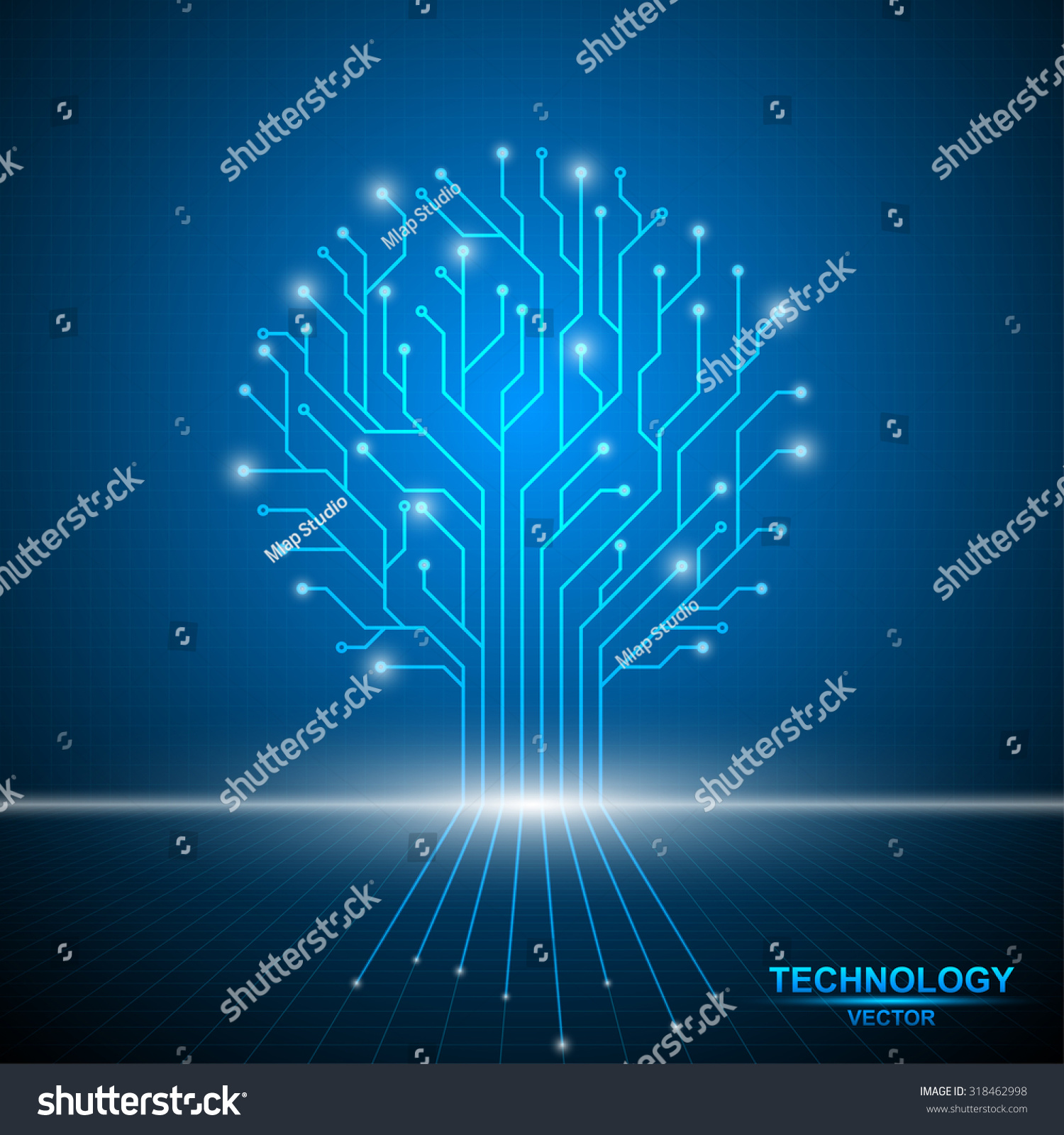 Tree Circuit Board Technology Abstract Template Stock Vector ...