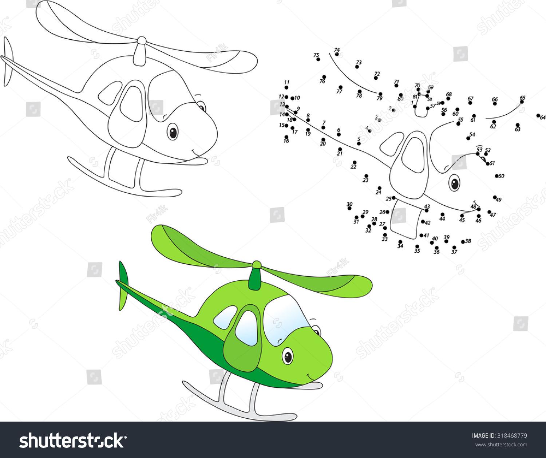 Cartoon Helicopter Coloring Dot Dot Educational Stock Vector ...
