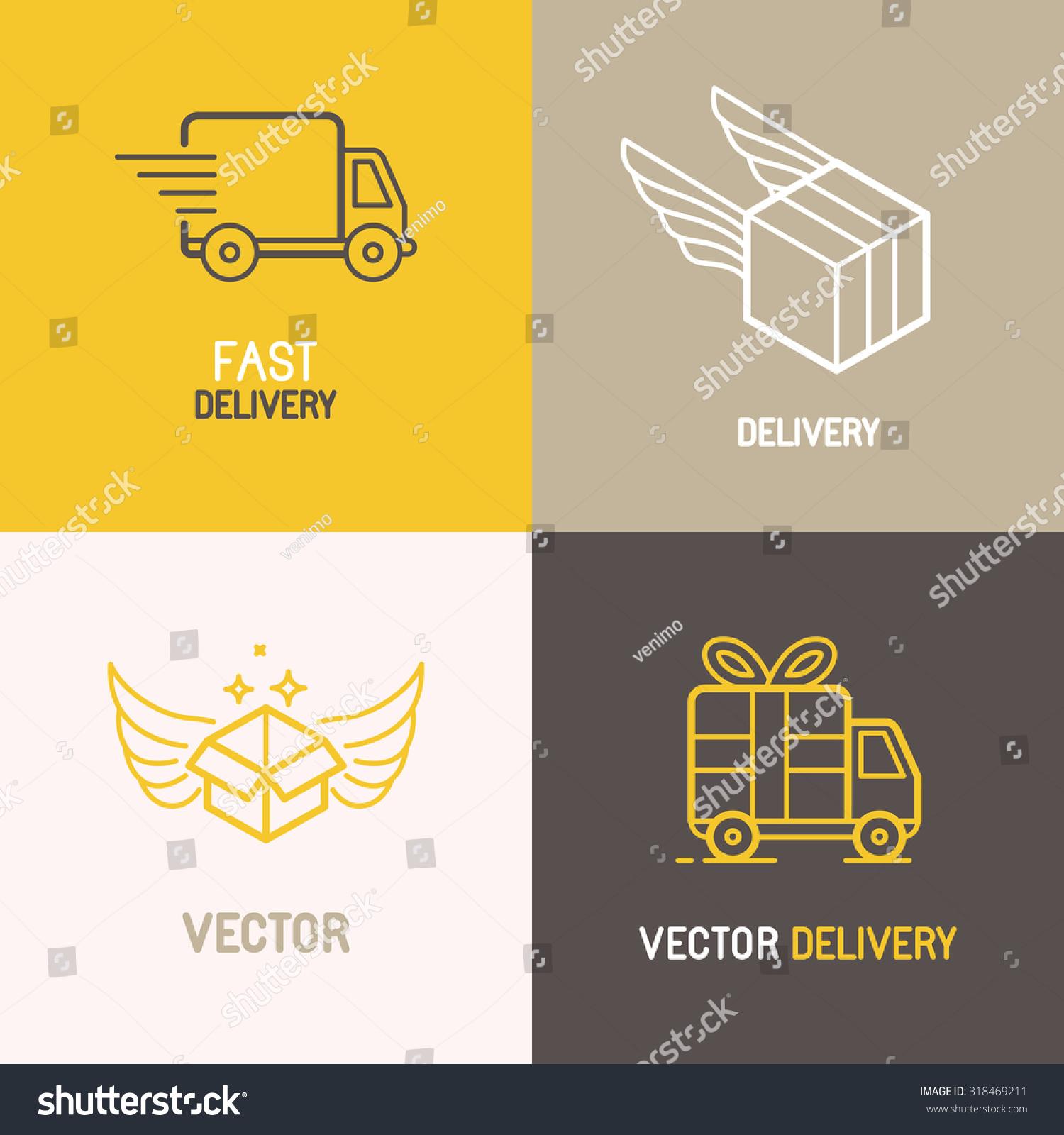 vector express delivery service logo design stock vector