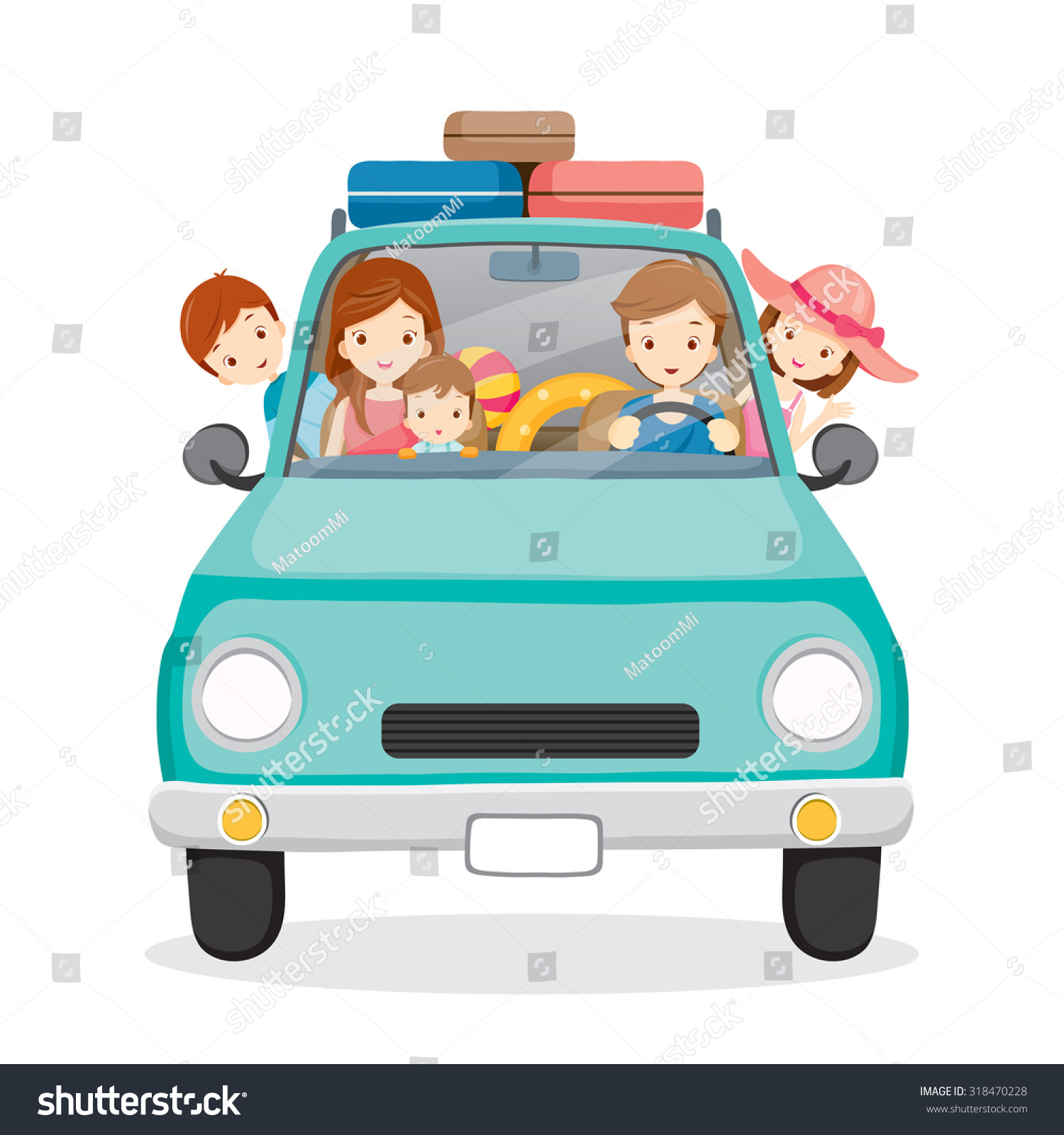 Family On Car Driving To Travel Vacations Holiday Journey Trips Transportation