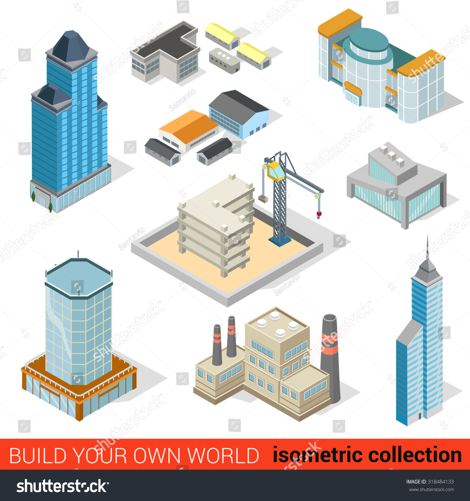 Flat 3d isometric city skyscraper building stock vector for Build your own 3d house