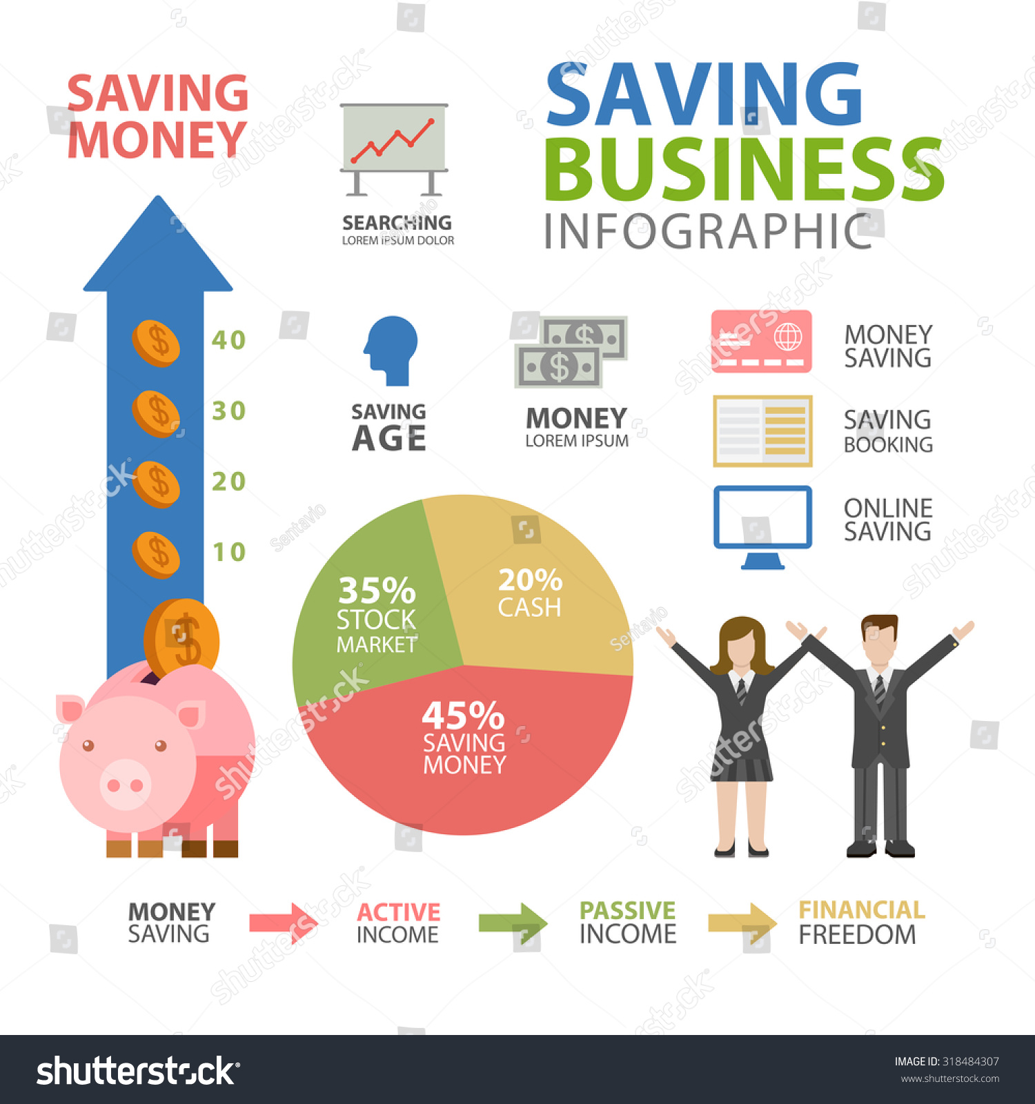 Flat Style Thematic Financial Freedom Infographics Stock