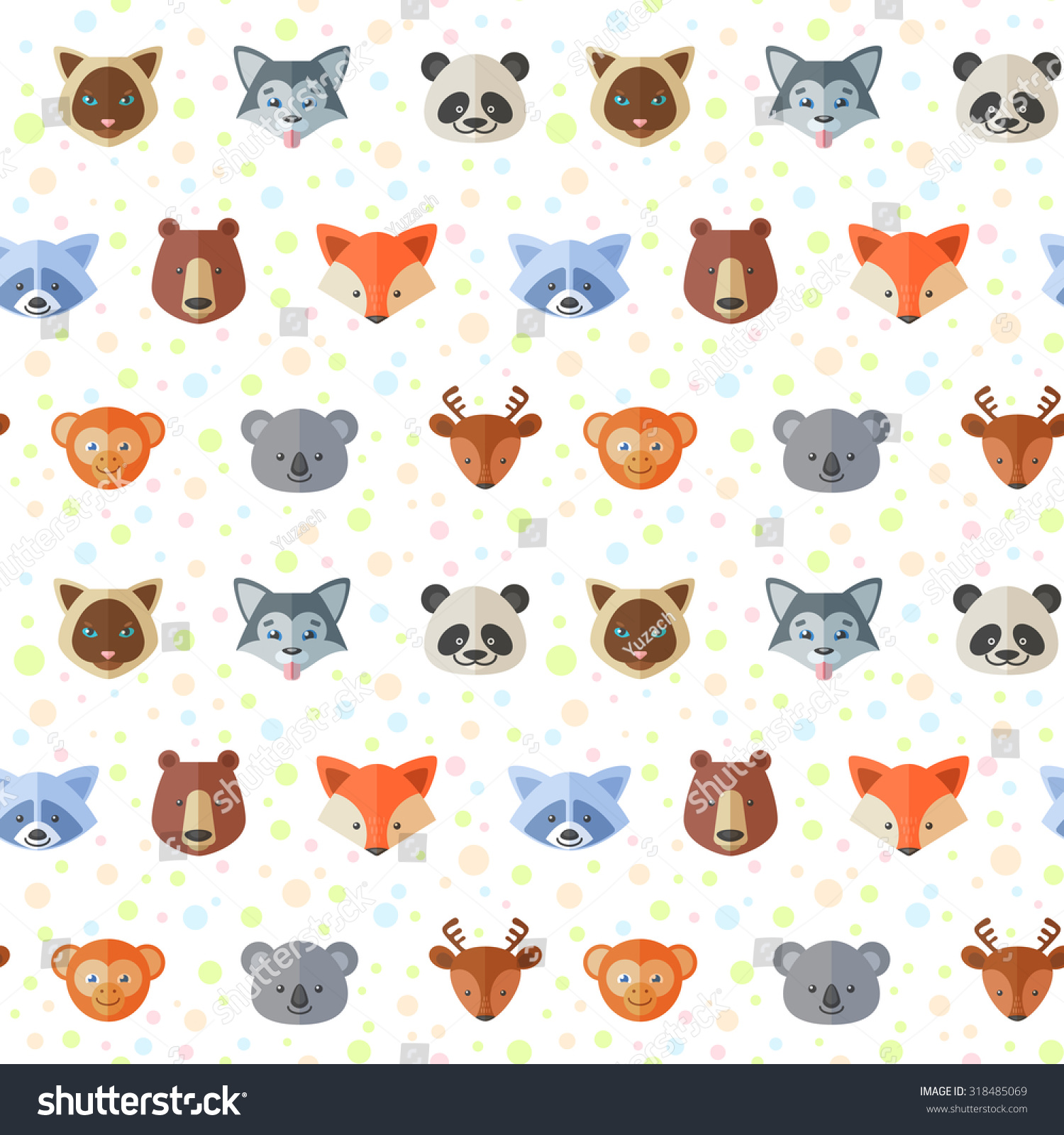 Seamless pattern cute flat animals portraits stock vector for Children s animal print fabric