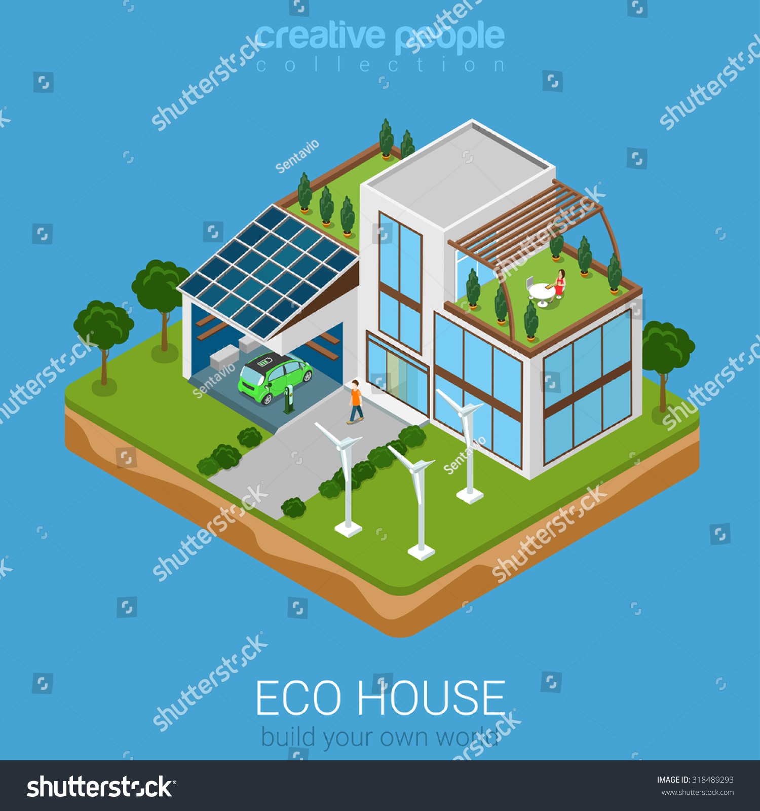 Flat 3d Isometric Green Eco Friendly Stock Vector