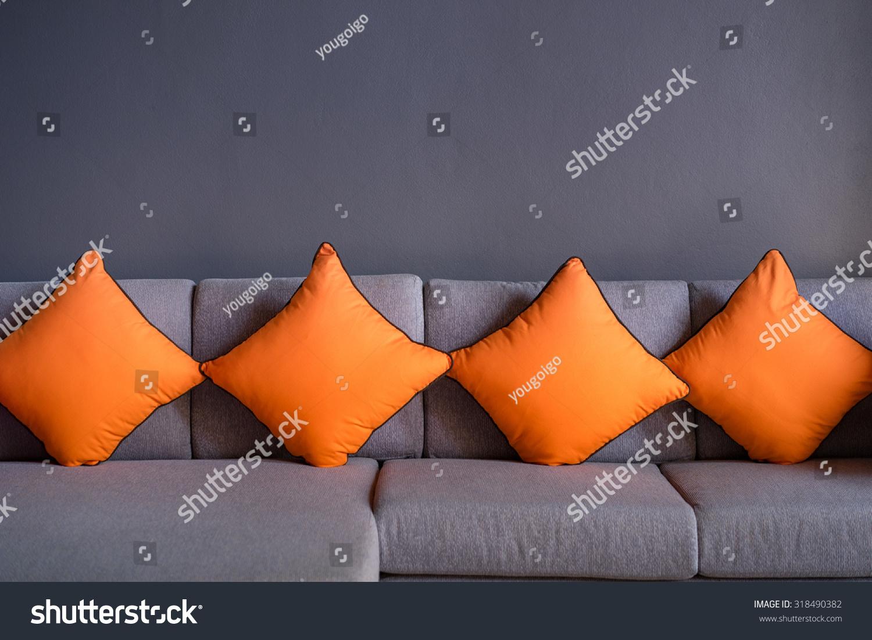 Four Orange Scatter Cushion Or Backrest Stock Photo 318490382
