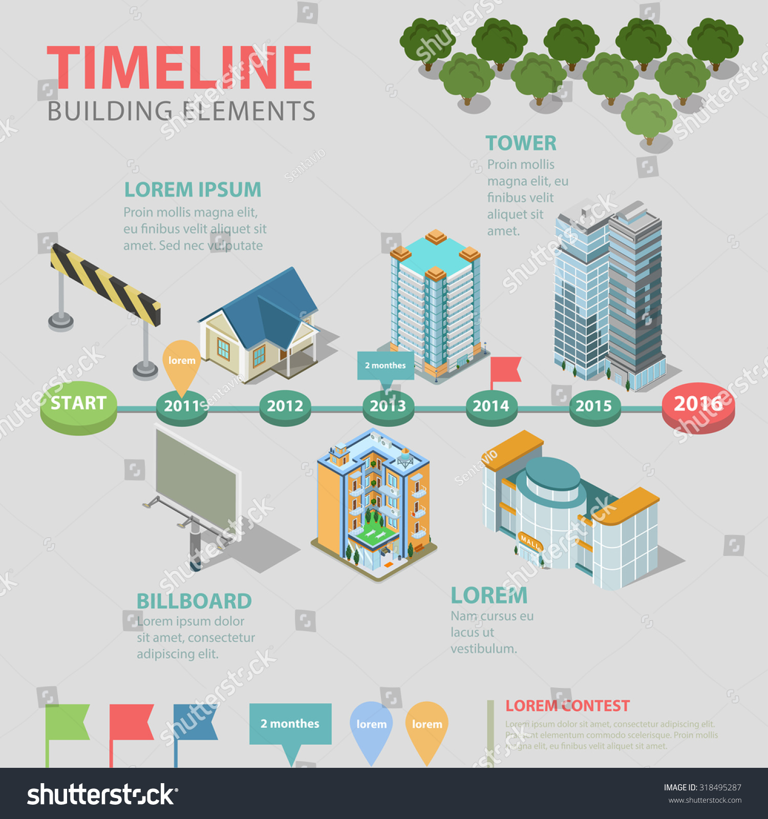 Flat style 3d isometric thematic timeline stock vector for Timeline to build a house