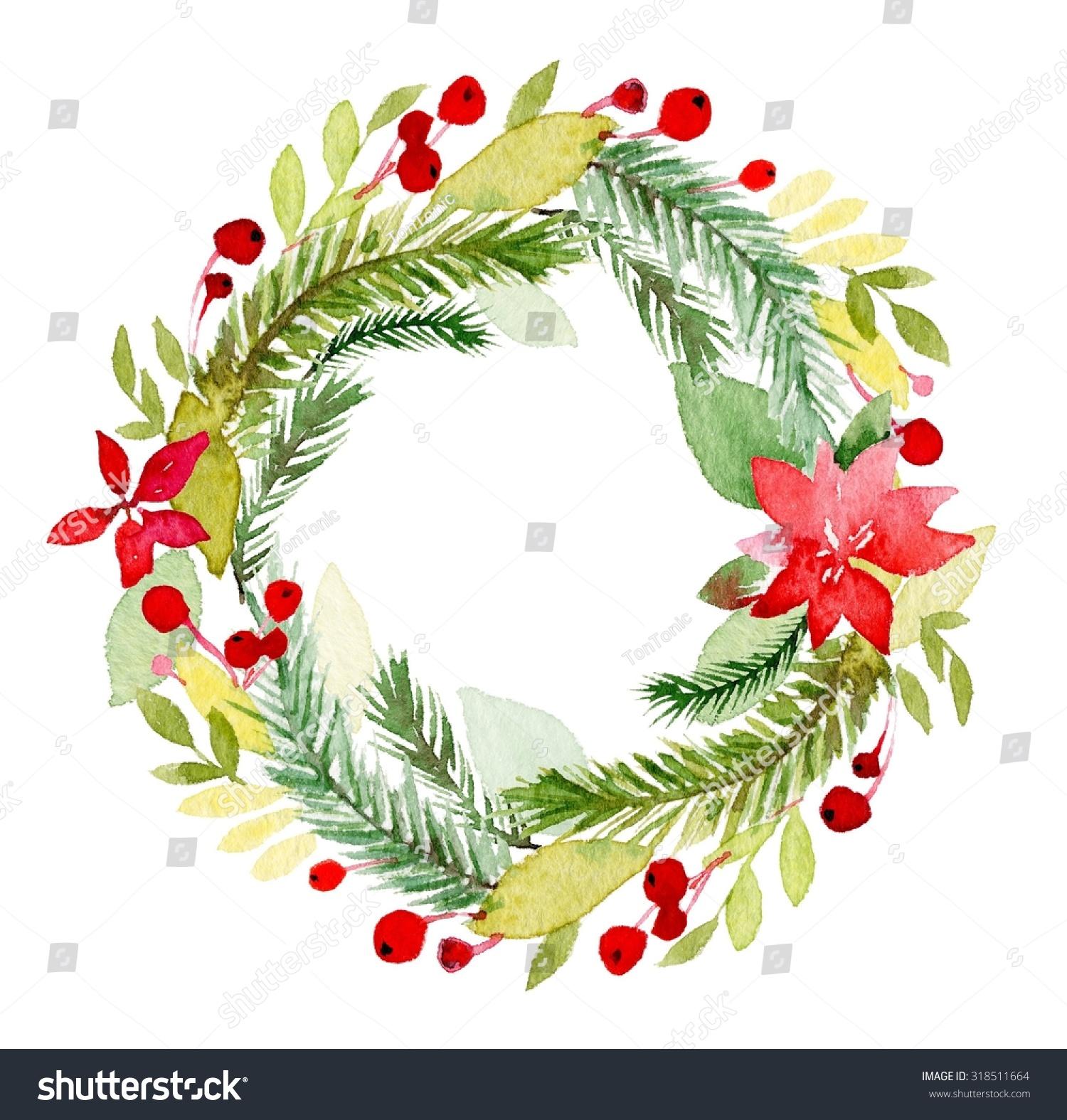 Watercolor christmas wreath poinsettia plant tree stock for Poinsettia christmas tree frame