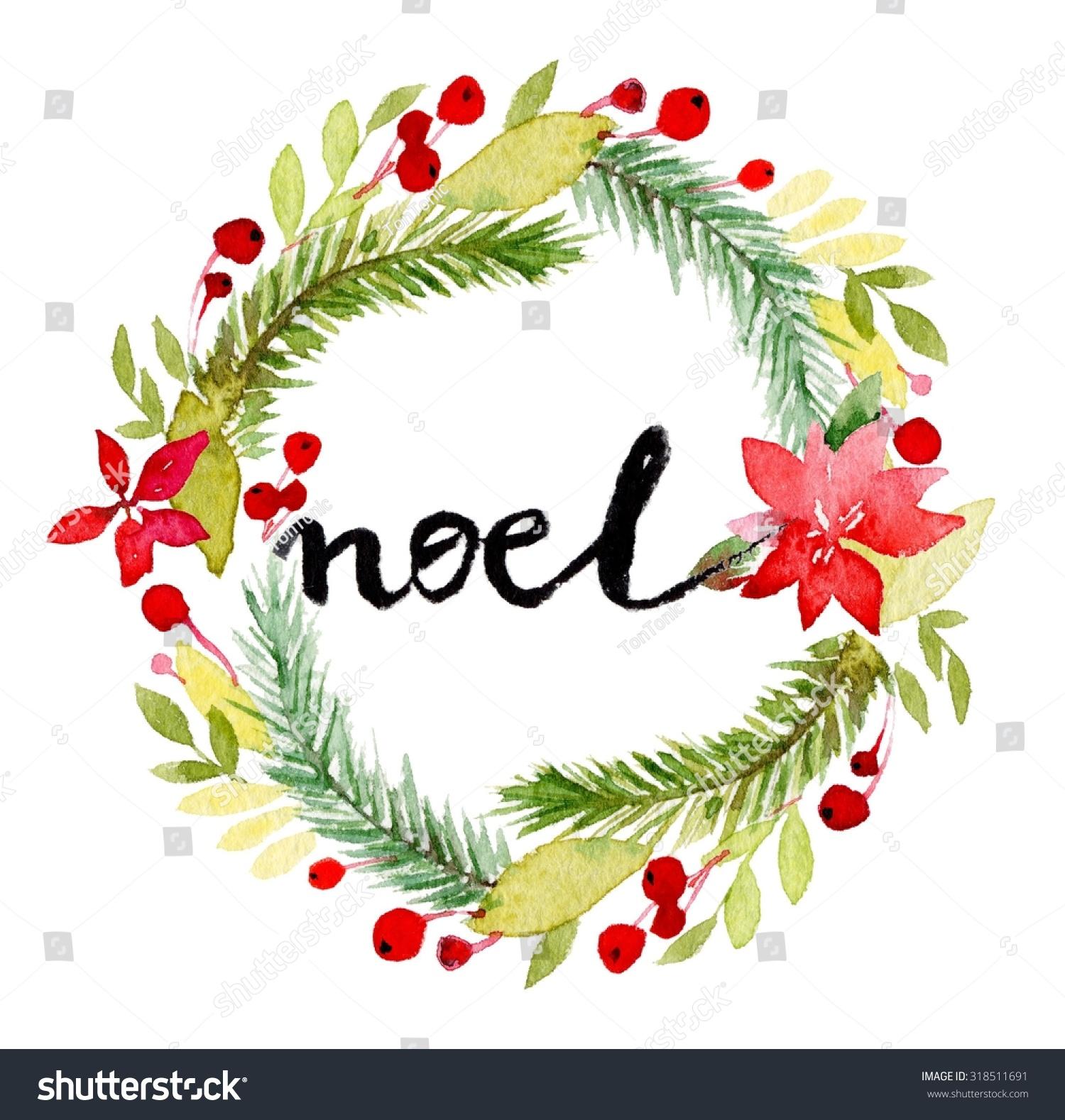 Watercolor Christmas Wreath Poinsettia Plant Tree Stock