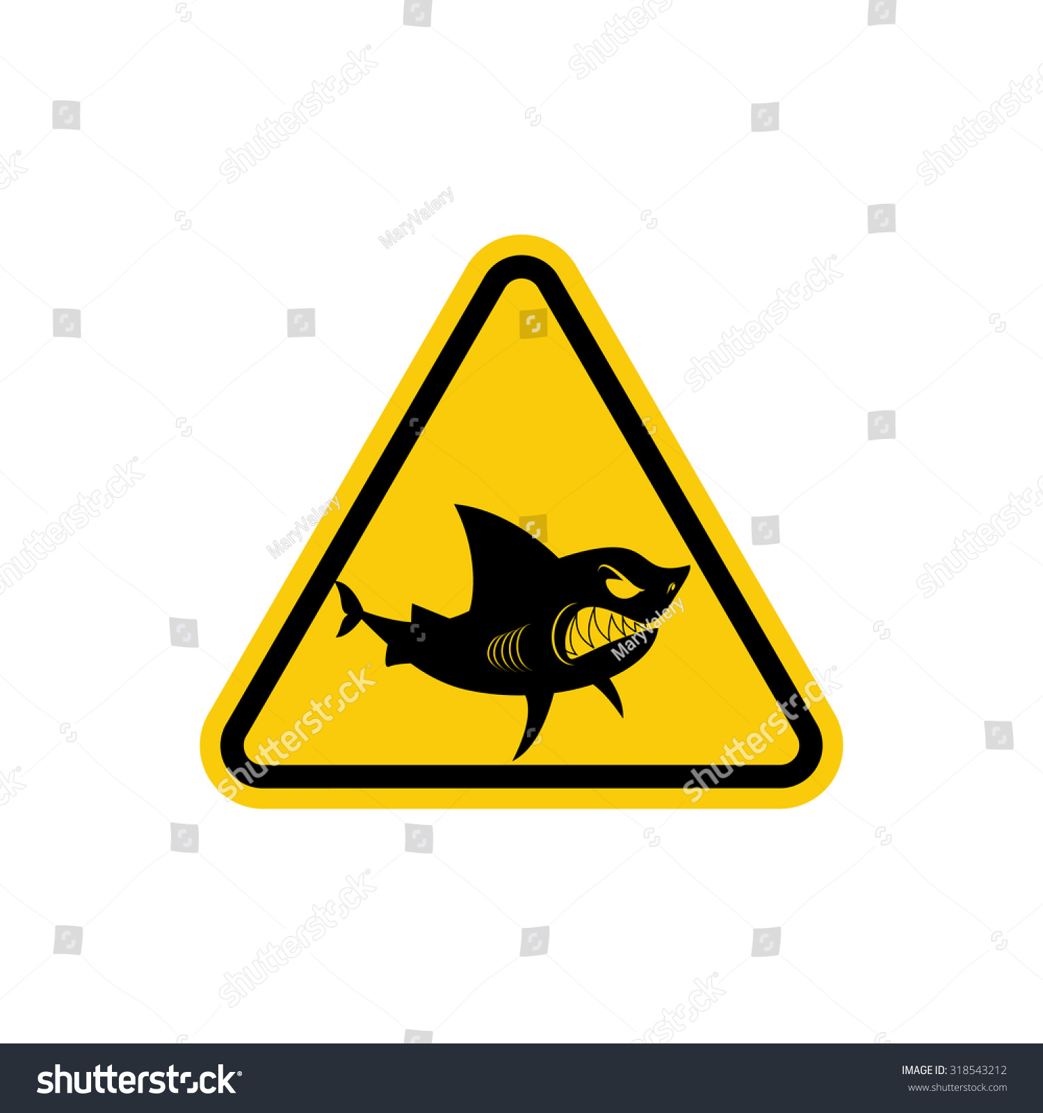 Sign attention sharks yellow warning symbol stock vector 318543212 yellow warning symbol for ocean swimming is prohibited in biocorpaavc Gallery