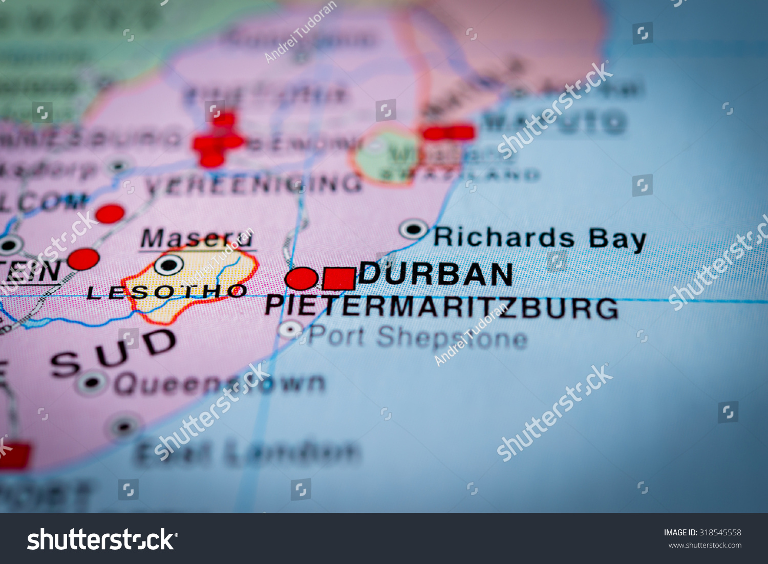 Map View Durban South Africa Vignette Stock Photo Royalty Free