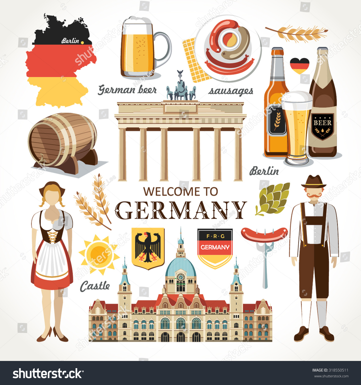 welcome to germany set stock vector illustration 318550511
