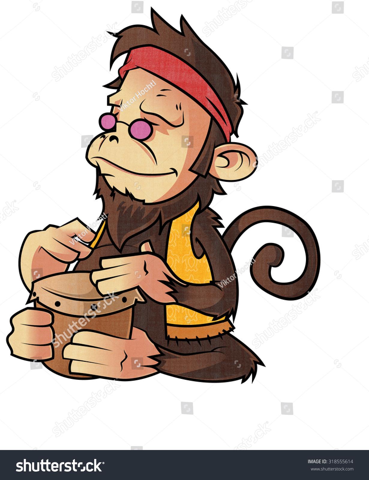 Royalty Free Stock Illustration Of Hippie Monkey Playing Bongo Drums