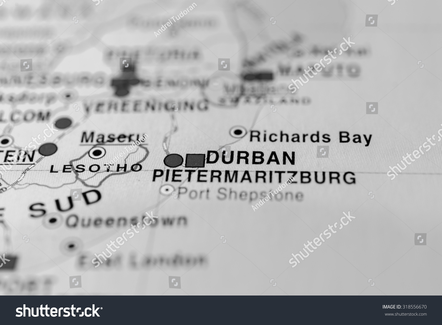 Map View Durban South Africa Stock Photo Edit Now 318556670