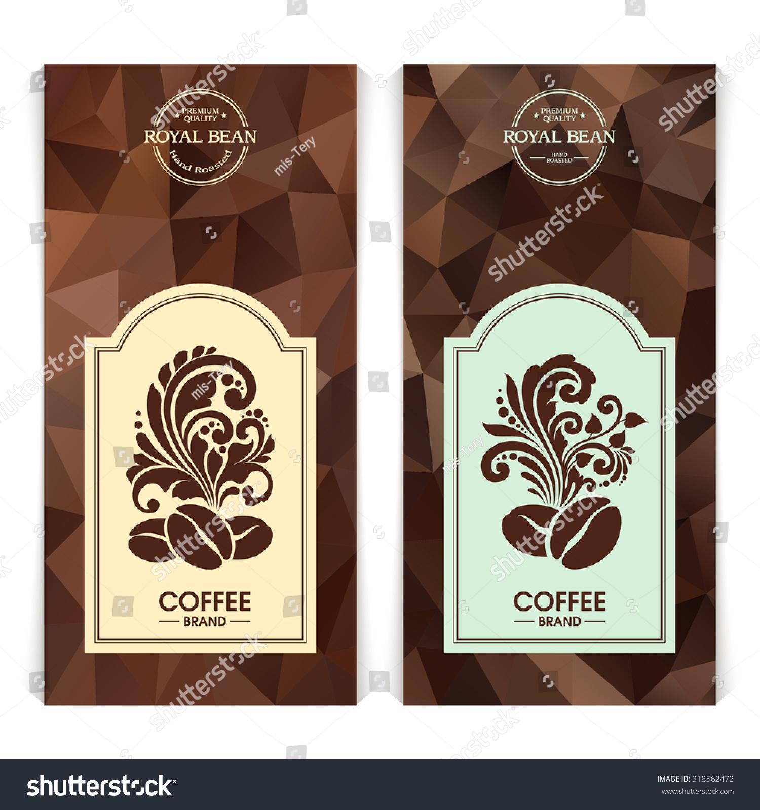 vector set templates packaging coffee label stockvektor royaltyfri