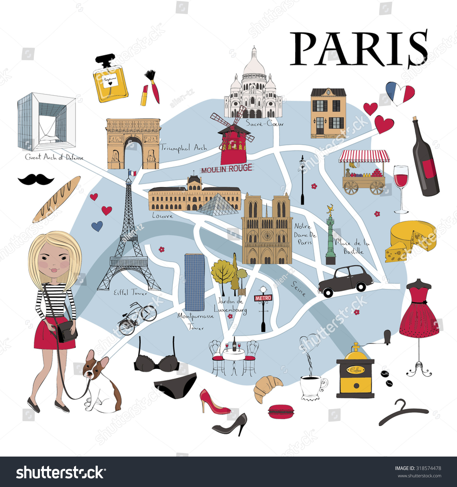paris map with famous landmarks