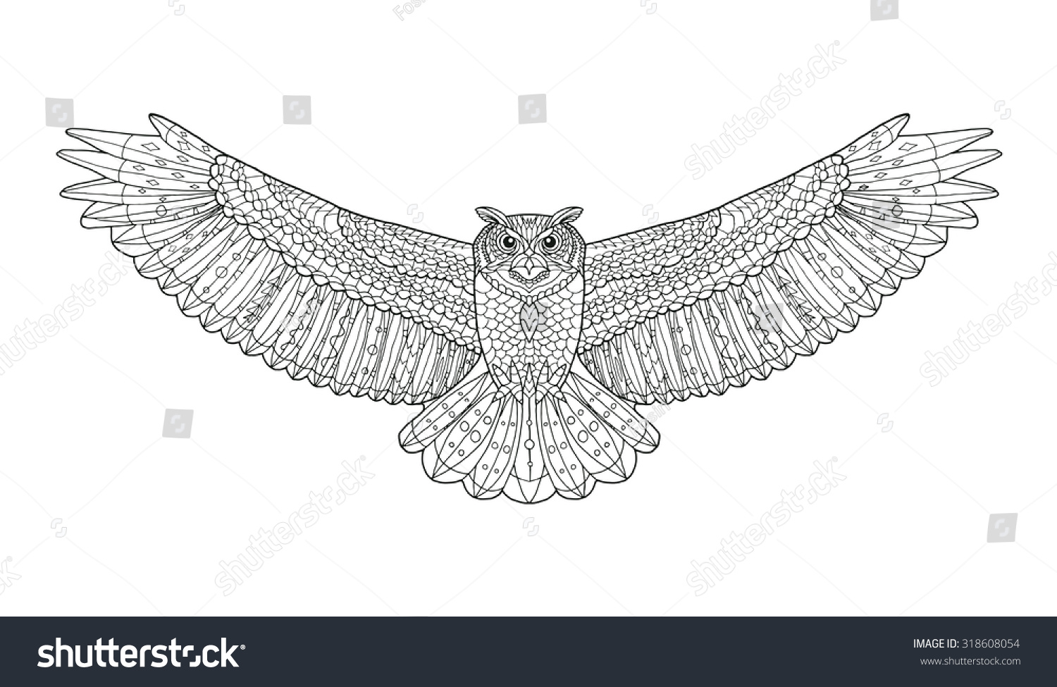 Coloring Pages Totem Animals : Eagle owl coloring page animal collection stock vector hd