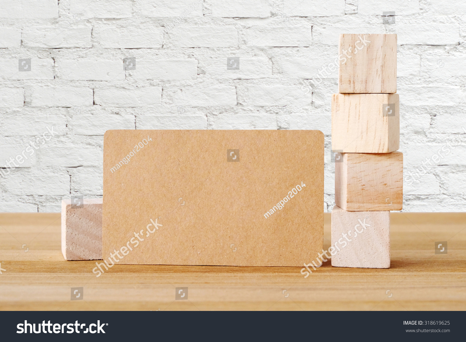 Blank Recycle Paper Business Card Wooden Stock Photo 318619625 ...