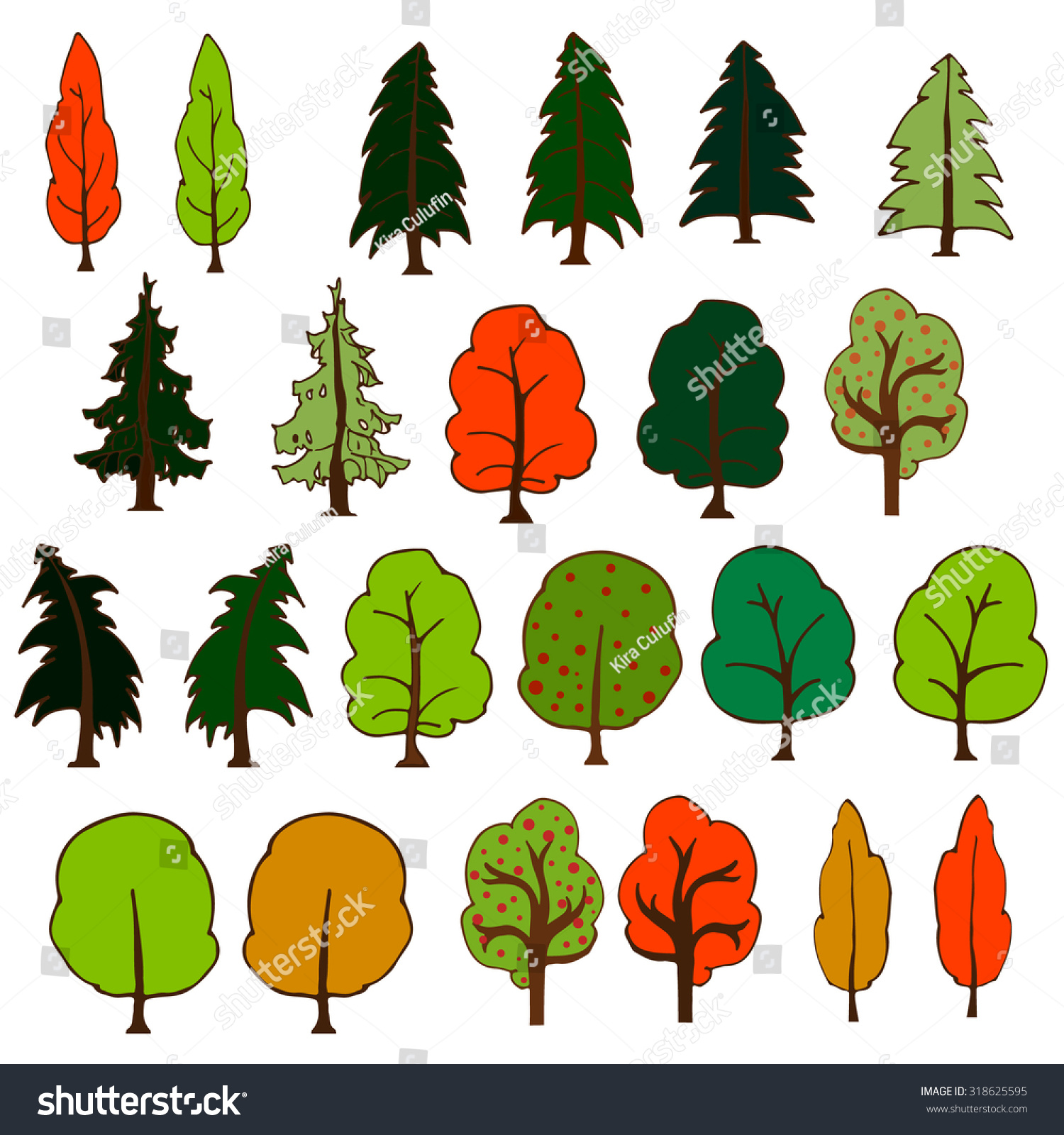 Set Colorful Hand Drawn Trees Isolated Stock Vector 318625595 ...