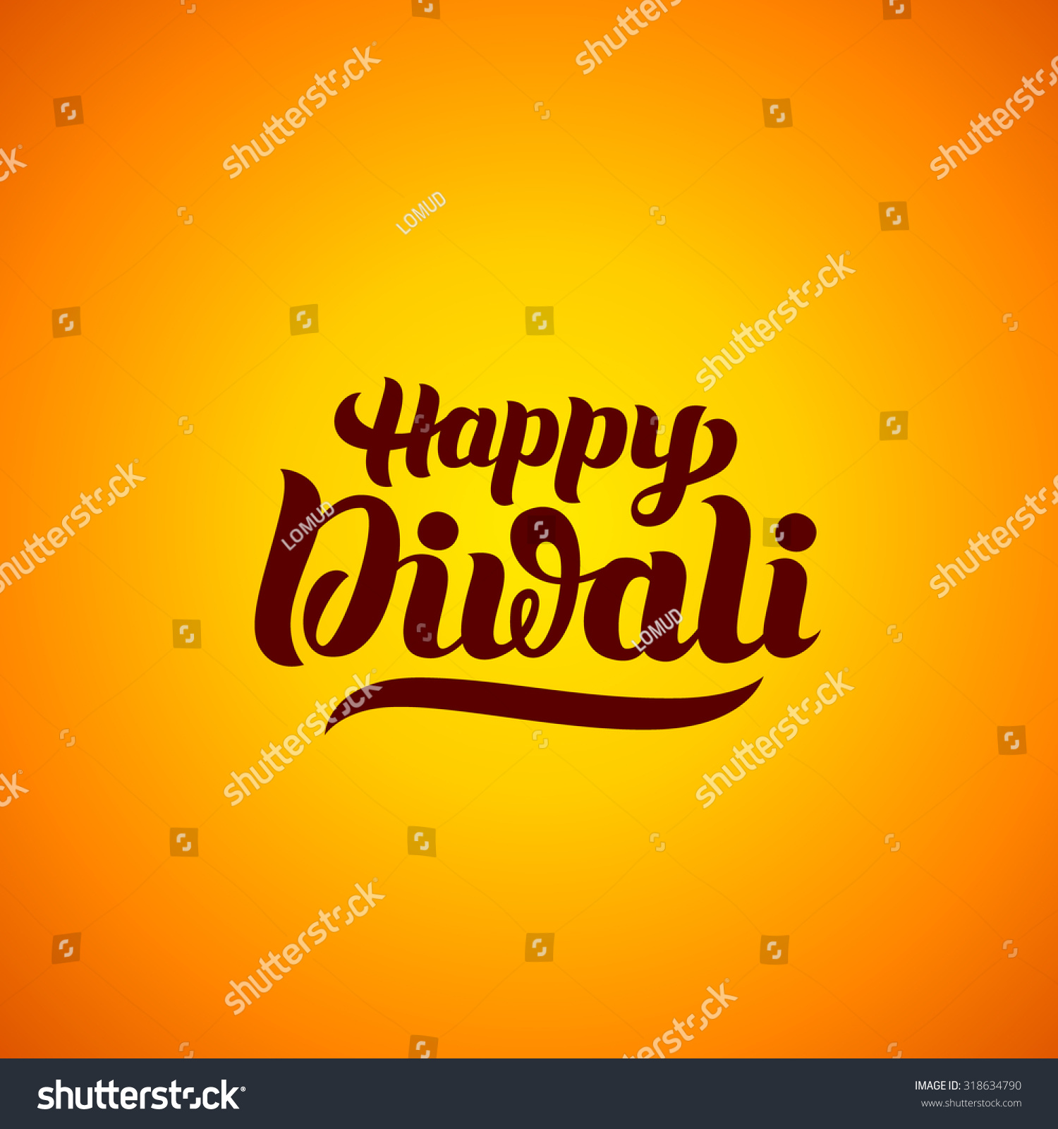 Happy Diwali Handlettering Indian Holiday Festival Stock Vector
