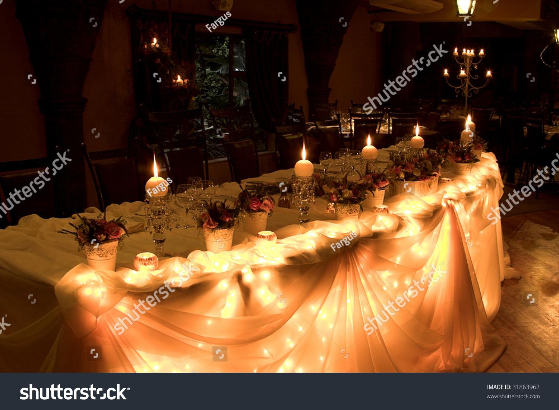 Main Table Wedding Reception Lit Fairy Stock Photo Edit Now