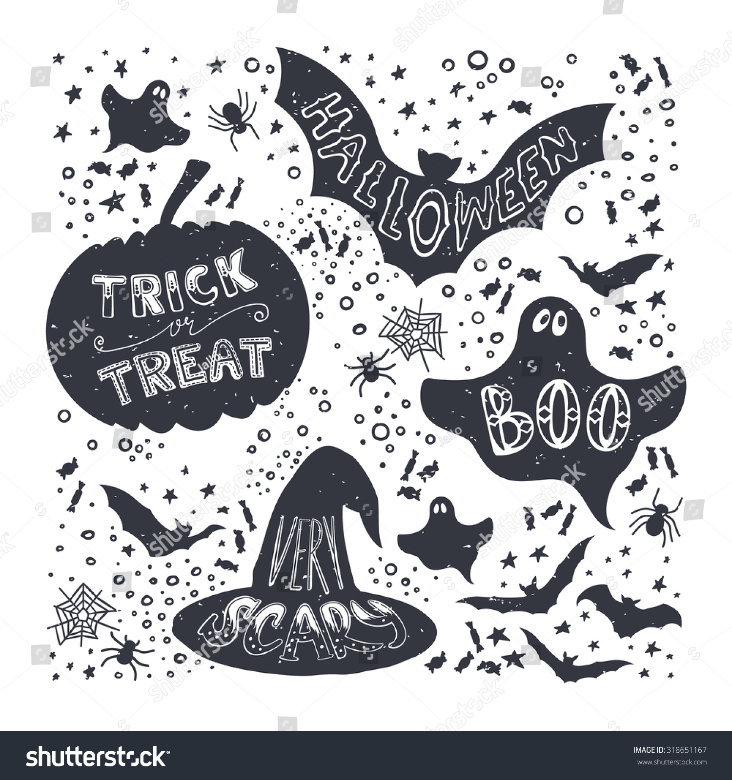 Set Halloween Pumpkin Witch Hat Bat Stock Vector (2018) 318651167 ...
