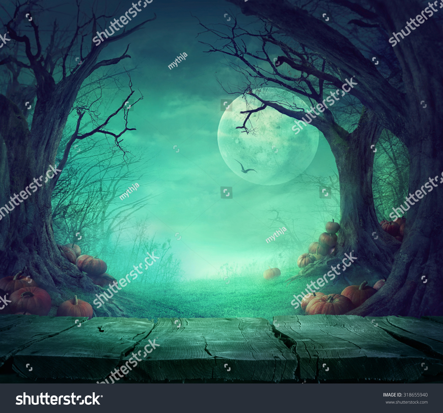 Scary woods photo edit - Halloween Background Spooky Forest With Dead Trees And