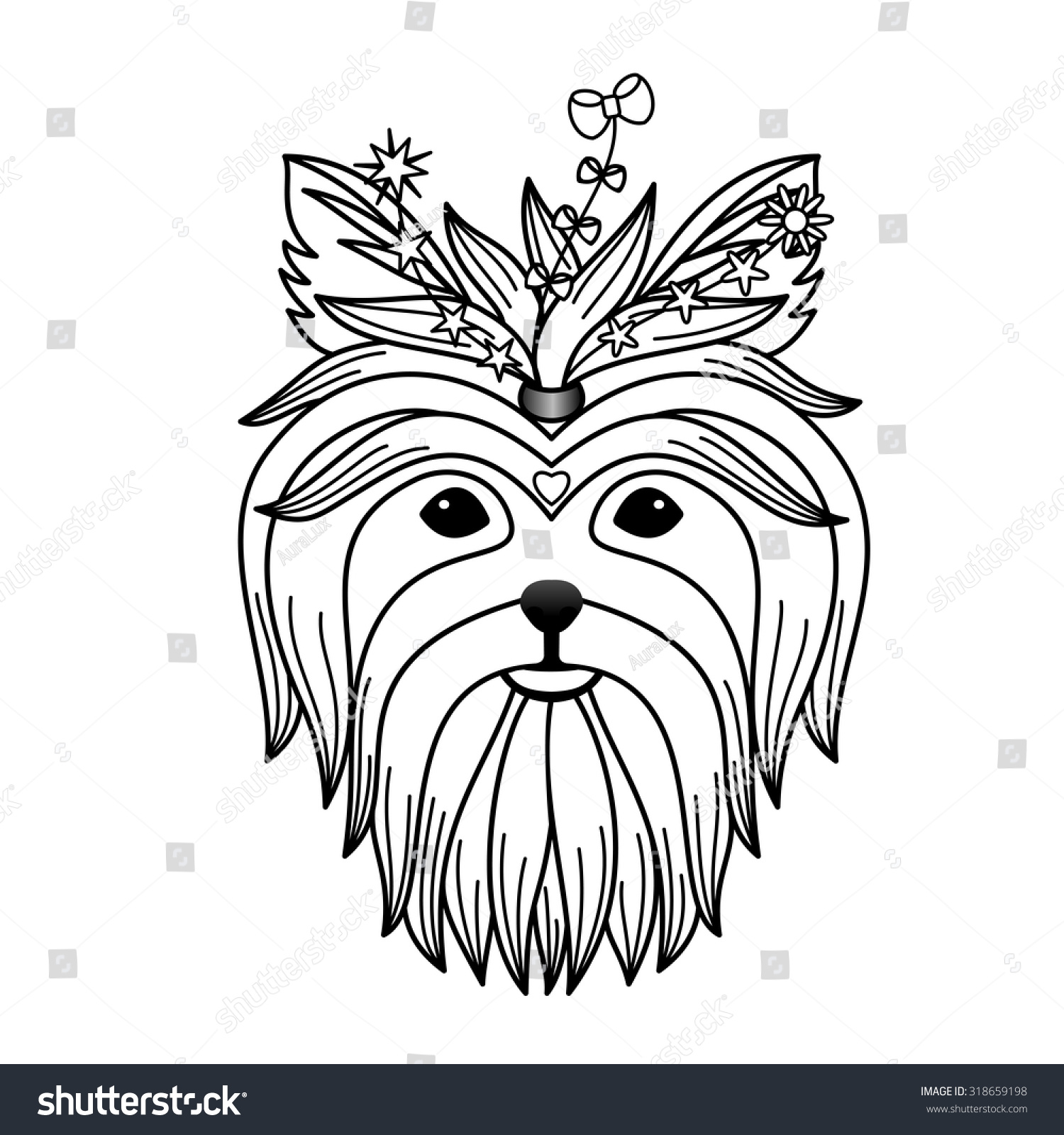 Coloring pages yorkie - Yorkshire Terrier Tattoo Vector Illustration For Textile Prints Tattoo Signs Web And