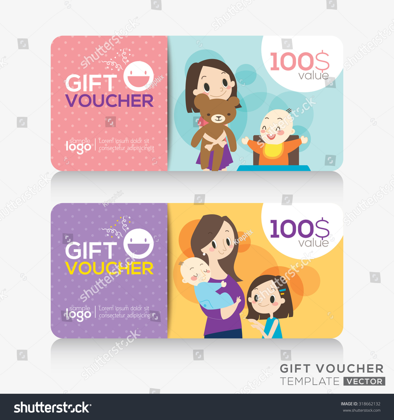 kids store coupon voucher or gift card design template with illustration of cute mother and. Black Bedroom Furniture Sets. Home Design Ideas