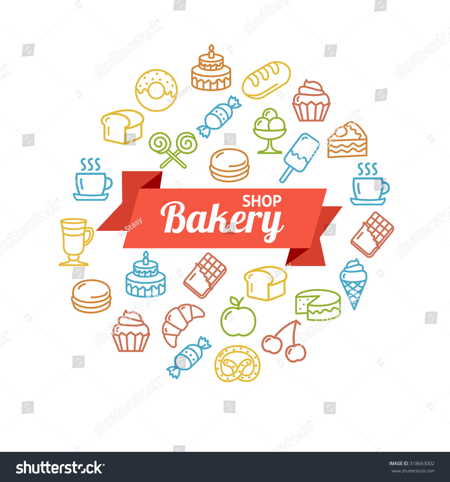 Bakery Shop Colorful Concept Outline with Space for Header Vector illustration