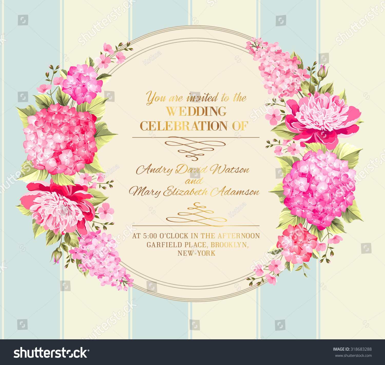 wedding invitation card pink flowers vintage stock vector royalty