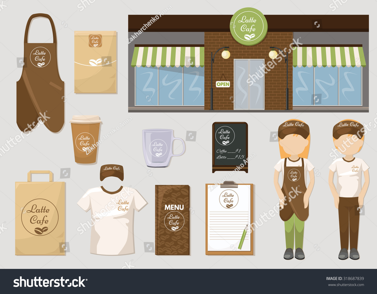 Set Cafe Restaurant Corporate Identity Mock Stock Vector Royalty