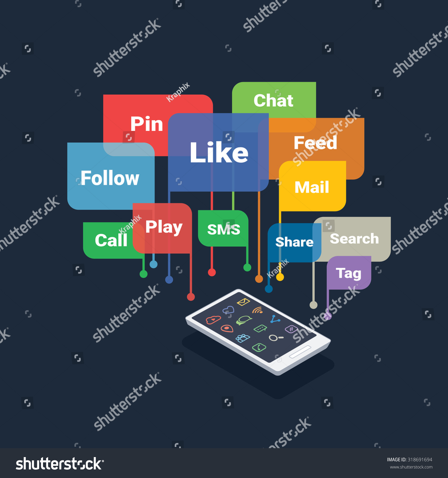 smartphone with social media concept bubbles isolated on dark background #318691694